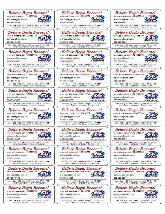 AdvoCare Product/Brochure/Sample Labels - 150 Labels on Etsy ...