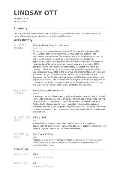 Human Resources Coordinator Resume samples - VisualCV resume ...