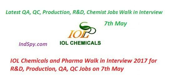 IOL Chemicals and Pharma Walk in Interview 2017 for R&D ...