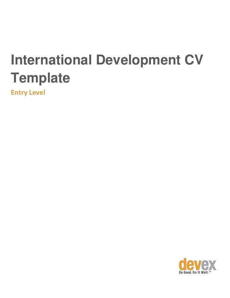 Entry Level International Development CV Template