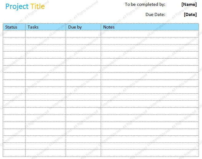 Project to do list (Basic Format) - List Templates