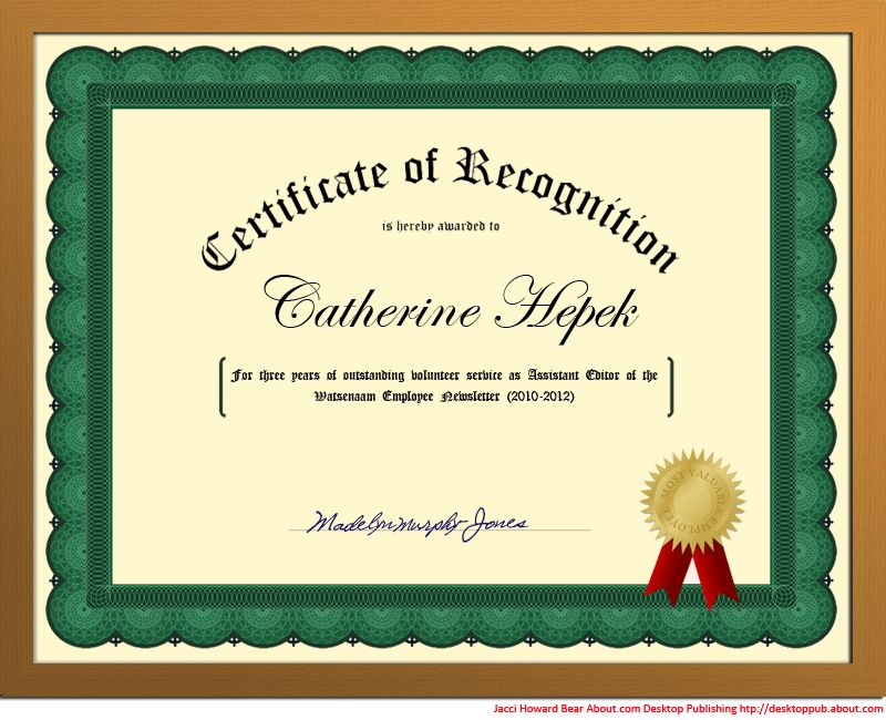You Can Create a Certificate of Recognition in Word for School or ...
