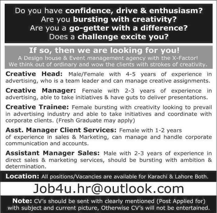 Creative Manager / Trainee & Sales / Client Service Managers Jobs ...