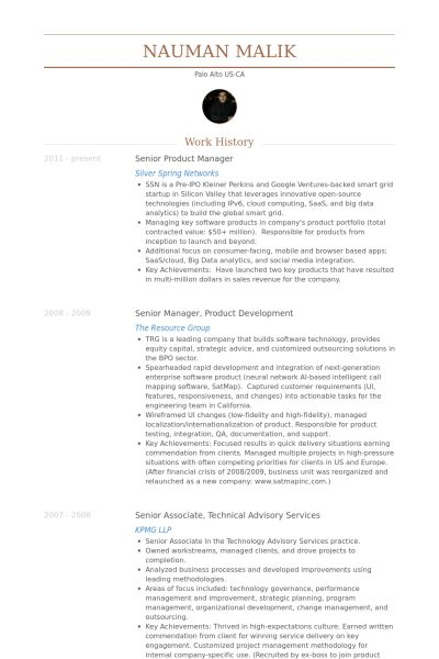 Senior Product Manager Resume samples - VisualCV resume samples ...