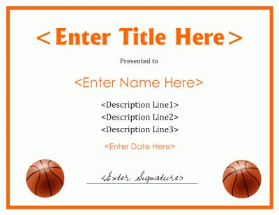 Printable basketball award certificate. Download free files in PDF ...