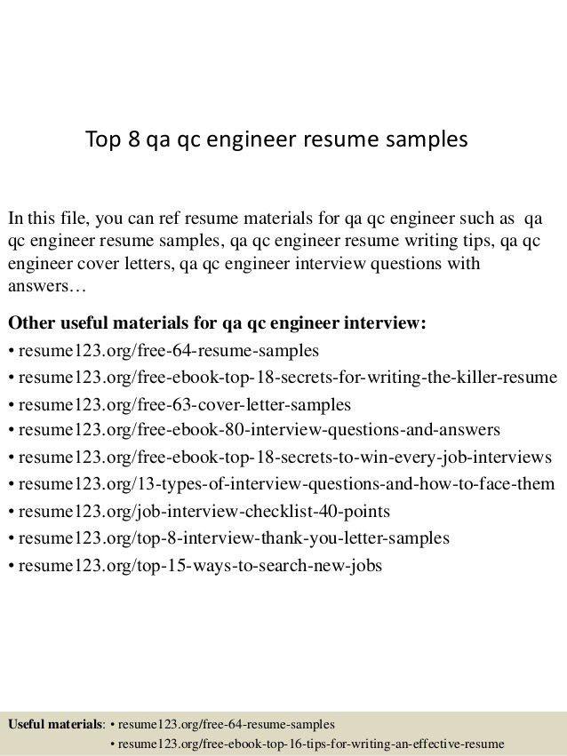 Customer Quality Engineer Sample Resume   haadyaooverbayresort.com