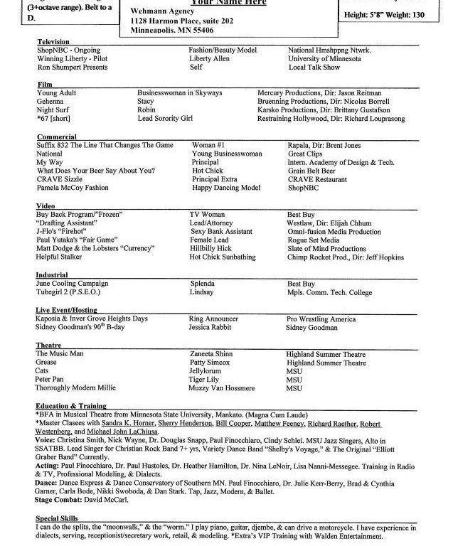 Unusual Special Skills Acting Resume 4 Sample Acting Resume ...
