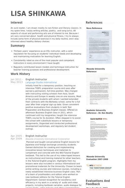 English Instructor Resume samples - VisualCV resume samples database