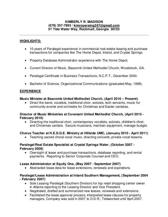 Kimberly Madison - paralegal resume 2017