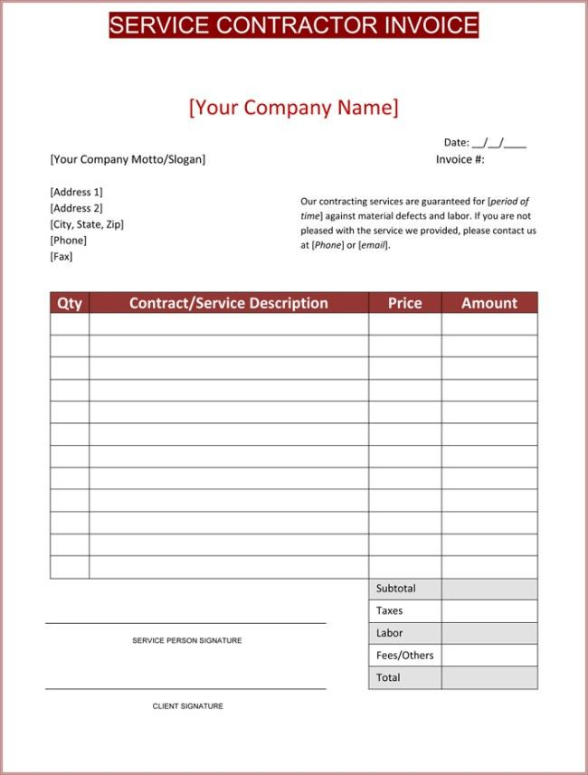 Contractor Invoices. Free Contractor Sample 7+ Contractor Invoice ...