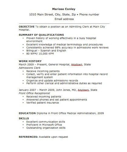 Admissions Clerk Cover Letter