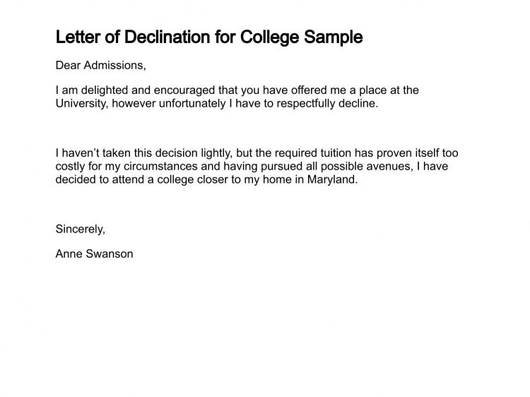 Letter of Declination