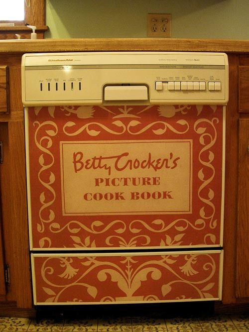 Kathy makes a custom dishwasher panel from a vintage Betty Crocker ...