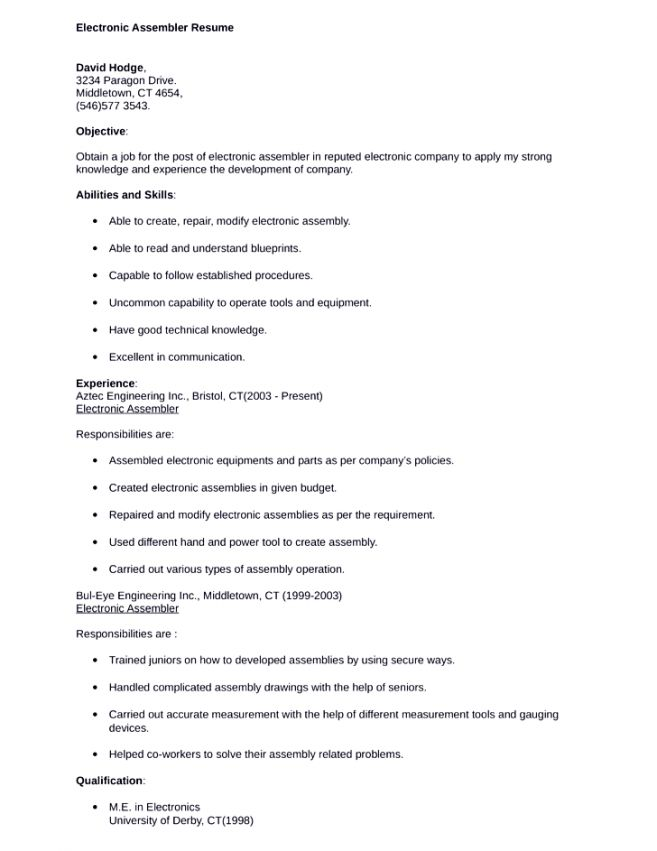 10 Assembler Job Description For Resume Resume warehouse assembler ...