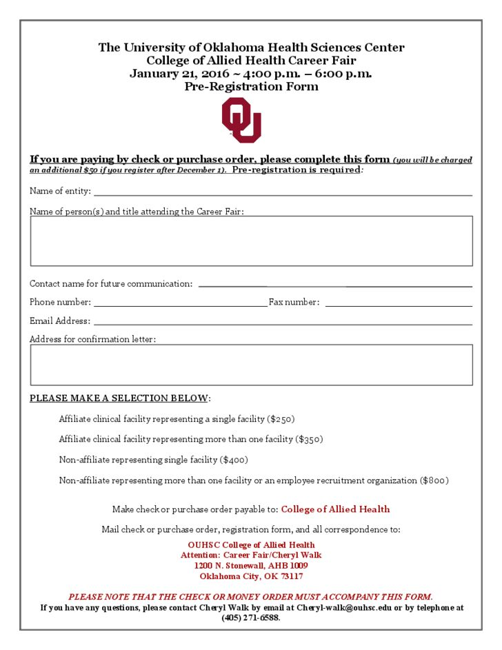 2016 Job Fair Registration Form - The University of Oklahoma Free ...