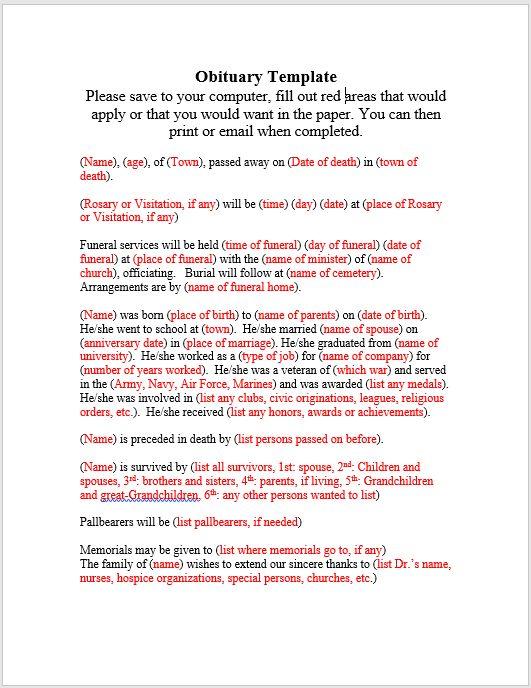 28+ Obituary Template Word Document | 10 Microsoft Word Obituary ...
