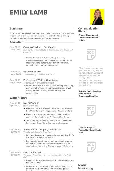 Event Planner Resume samples - VisualCV resume samples database