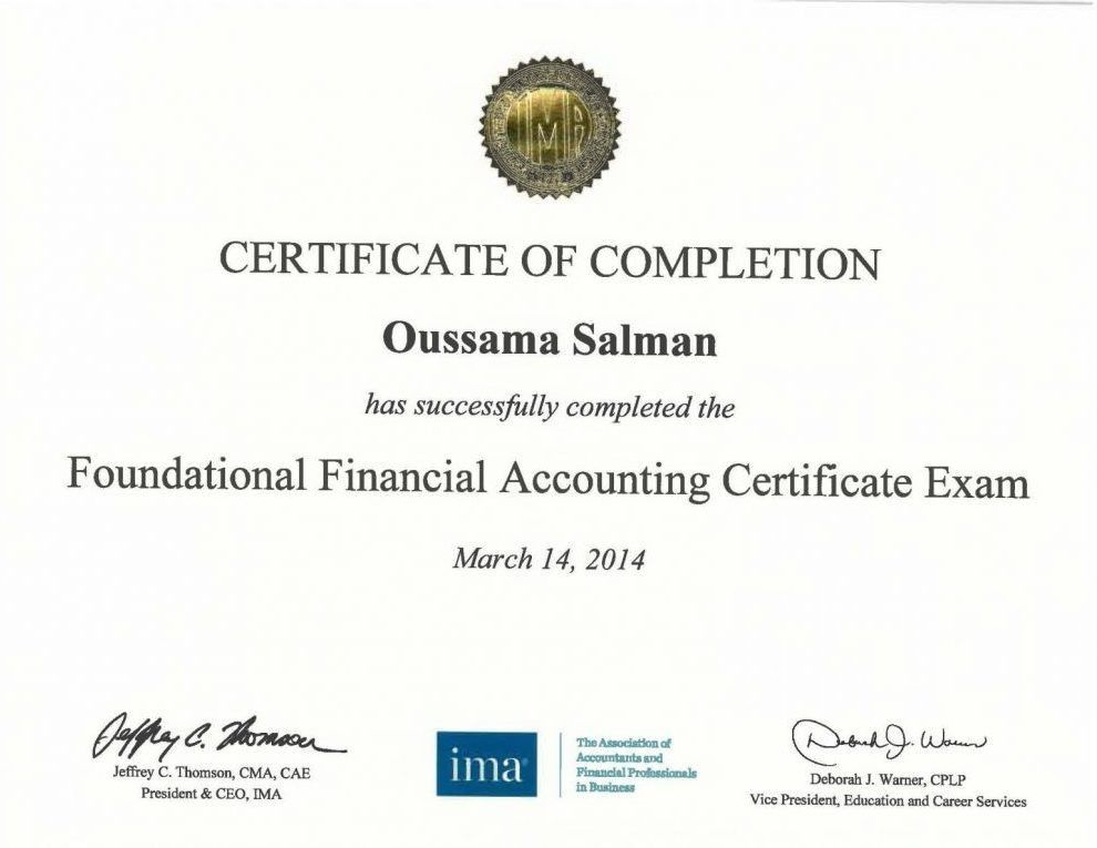 FFAC - Foundational Financial Accounting Certificate from IMA USA ...