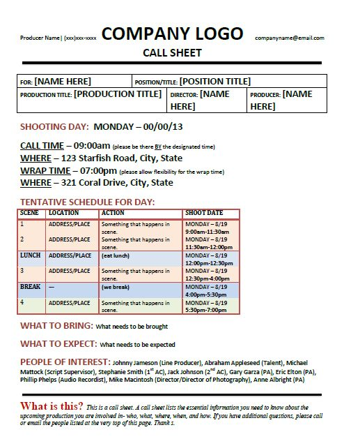 Sierra Leone & Free Call Sheet Template! | Juan Pablo Jaramillo