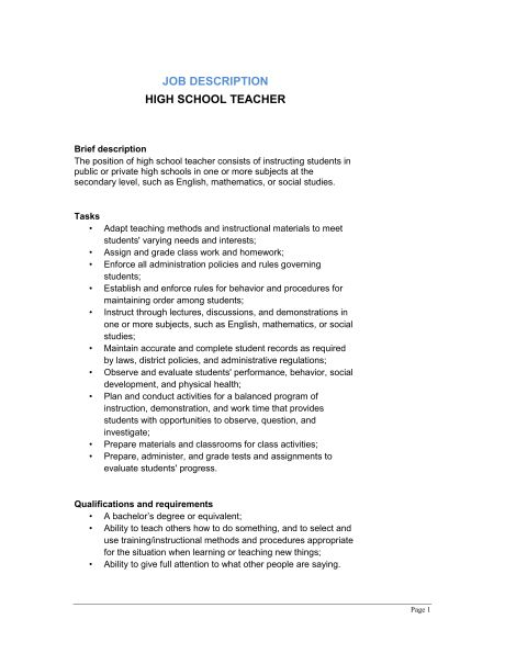 High School Teacher Job Description - Template & Sample Form ...