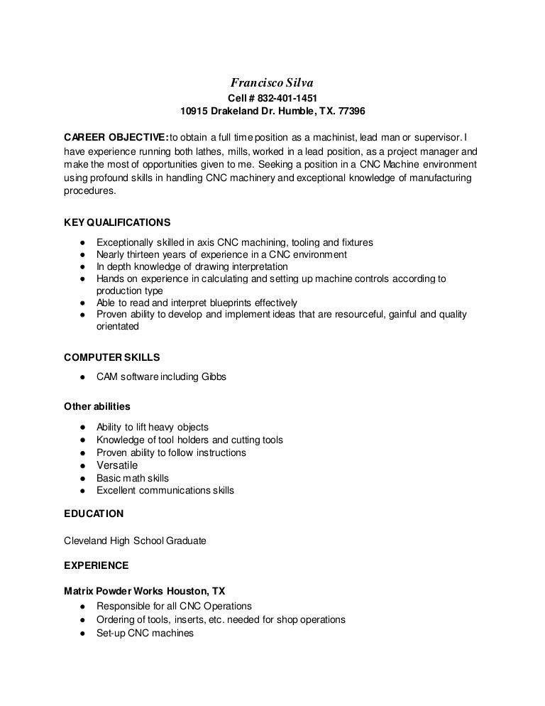 CNC Machinist Resume