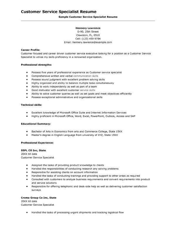 Joyous Resume Skills For Customer Service 6 Customer Service ...