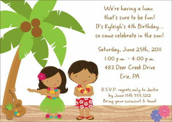 Image detail for -Beach Luau Birthday Party Invitation | Kids ...