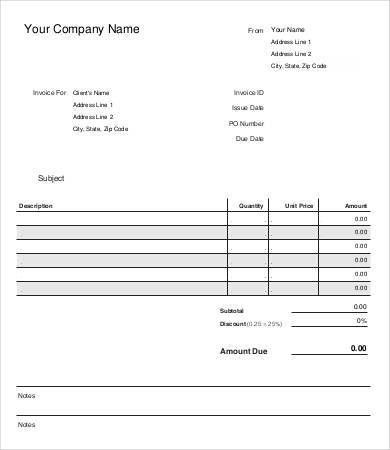 Sample Invoice Template - 9+ Free Sample, Example, Format | Free ...