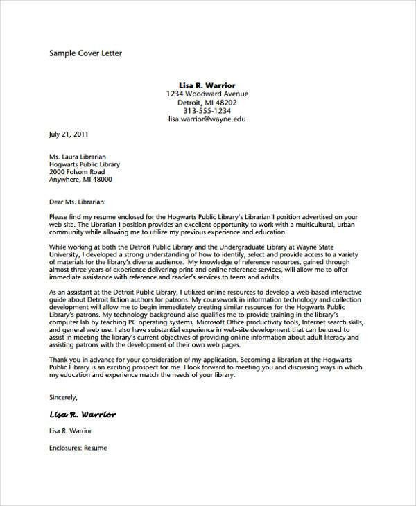 Librarian Cover Letter. Example Of Cover Letter For Resume ...