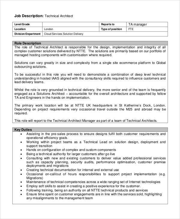 Nice Sample Architect Job Description   8+ Examples In PDF