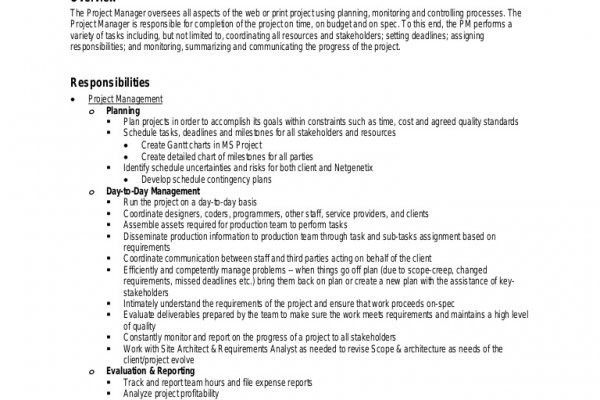 Account Manager Job Description. Job Description For Accounts ...