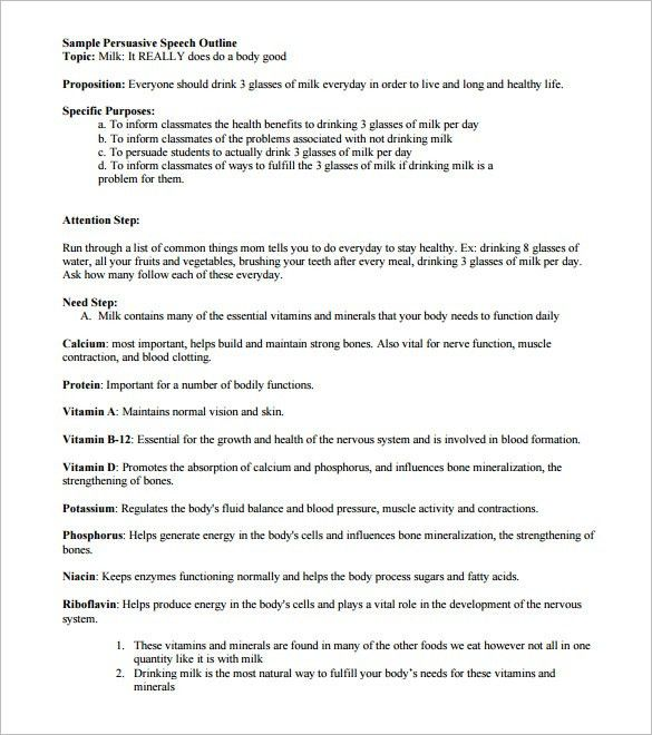 Persuasive Speech Outline Template – 9+ Free Sample, Example ...