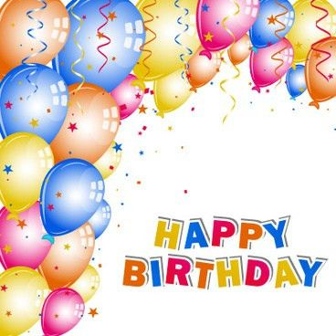 Balloons and confetti happy birthday card vector Free vector in ...