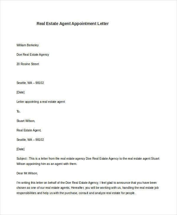 7 Sample Agent Appointment Letter - Free Sample, Example, Format ...
