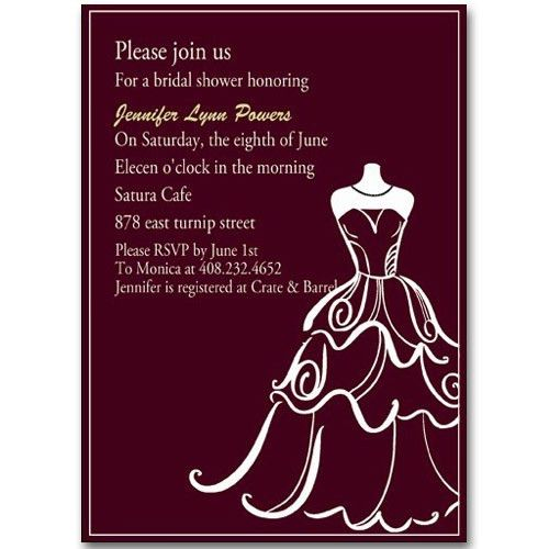chic wedding dress templates bridal shower invitation EWBS007 as ...