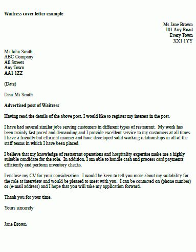 Waitress Cover Letter Example - icover.org.uk