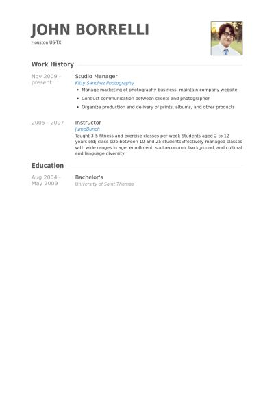 Studio Manager Resume samples - VisualCV resume samples database