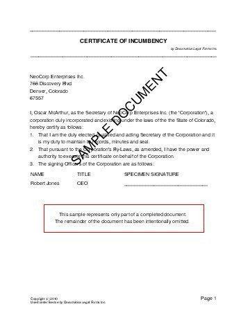 Certificate of Incumbency (Australia) - Legal Templates ...