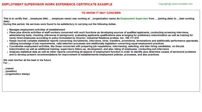 Employment Supervisor Work Experience Certificate