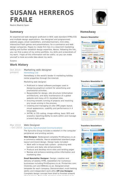 Web Design Resume samples - VisualCV resume samples database