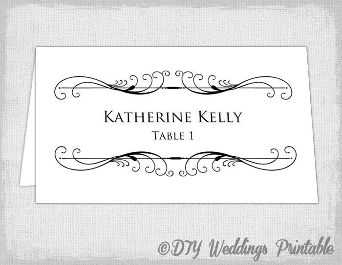 Printable Place card template Tent name card templates