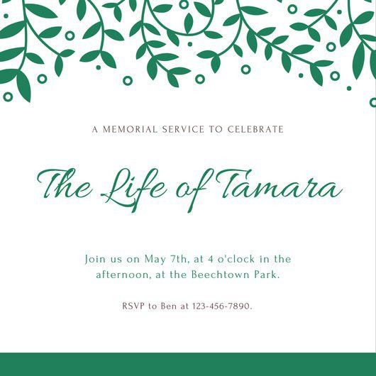 Green Patterned Leaves Memorial Invitation - Templates by Canva