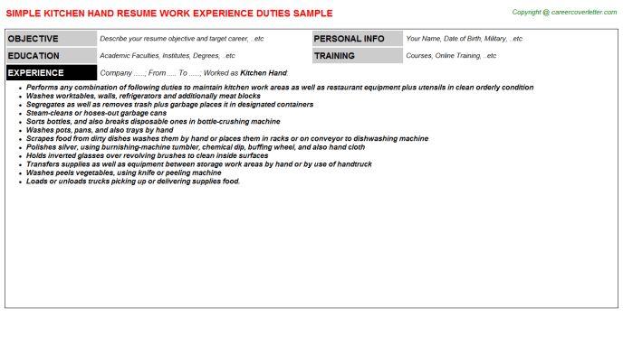 Kitchen Hand Job Title Docs
