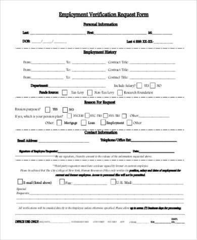 Sample Employment Verification Request Forms - 9+ Free Documents ...