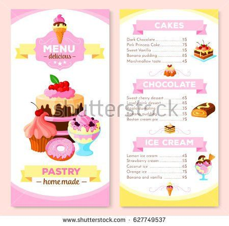 Pastry Homemade Dessert Cakes Menu Template Stock Vector 627749537 ...