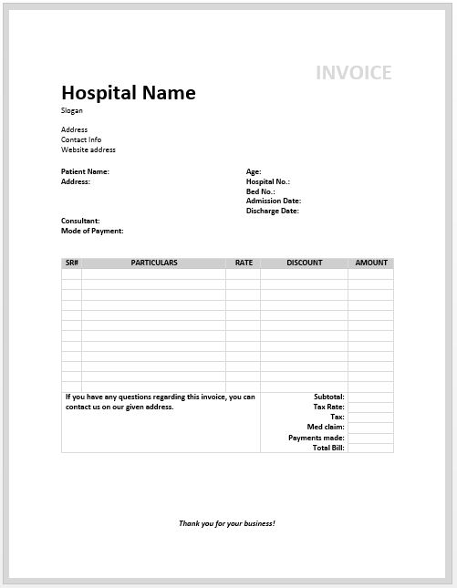 Medical Invoice Template | Free Invoice Templates