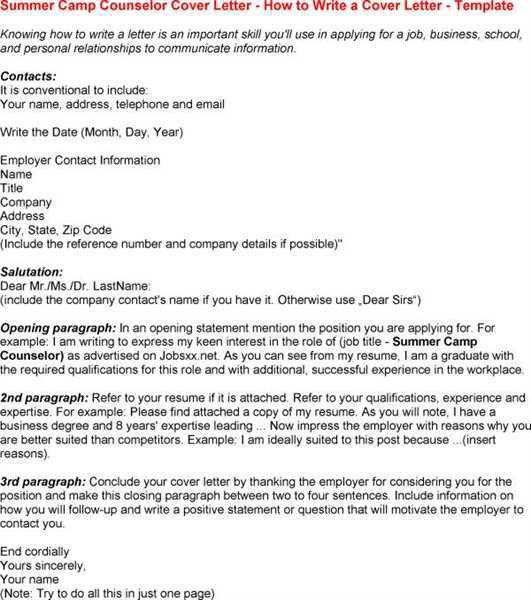 summer camp counselor cover letter example sponsor letter summer