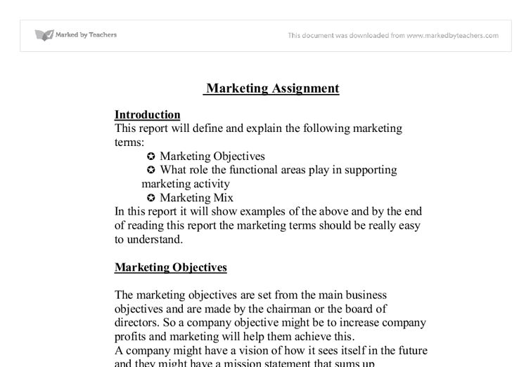 This report will define and explain the following marketing terms ...