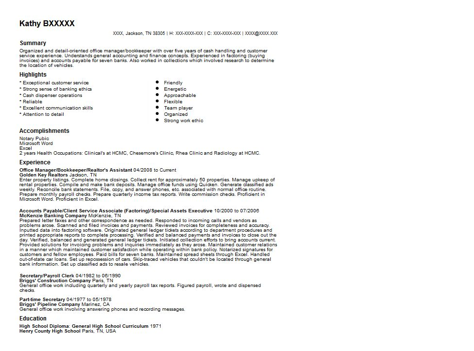 Office Manager and Bookkeeper Resume Sample | Quintessential ...