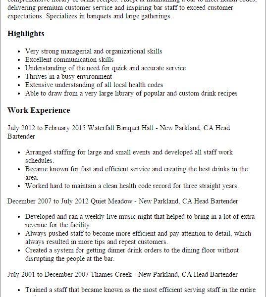 Bartending Resume Qualifications. splendid ideas bartending resume ...